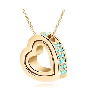 Double Heart Sky blue Crystal Gold Charm Pendant